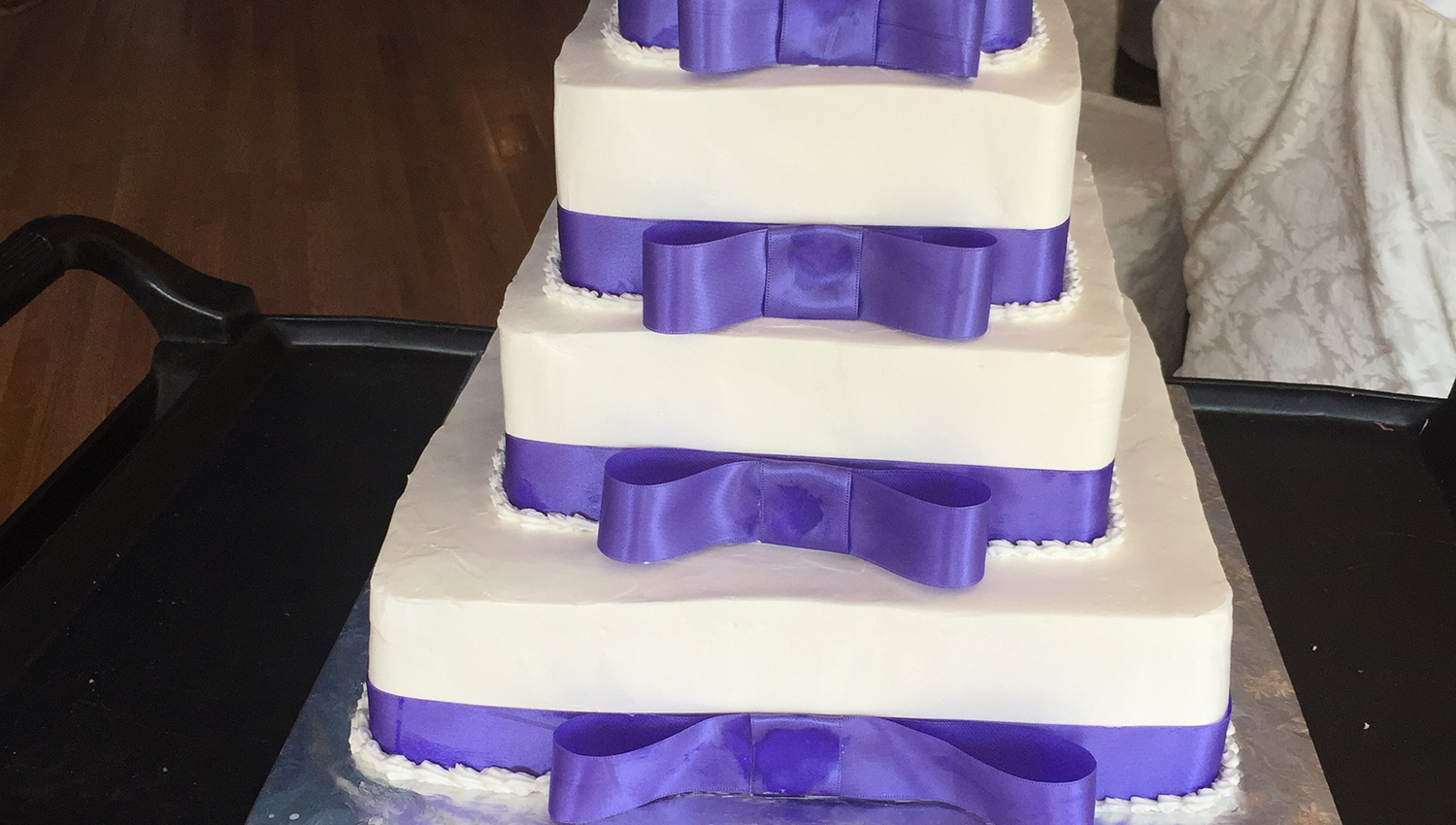 White and Purple Wedding Cake